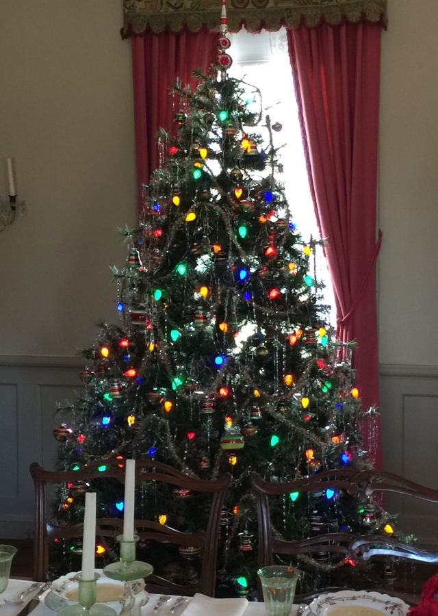 It will always be 1948 at Bassett Hall because Mrs. Rockefeller died that year and treasured their home and time here. The Christmas tree has aluminum tinsel and if you had a Christmas tree in 1948 -- and I remember ours in Kirkwood, Missouri, well from that year, this tree should look very familiar, the docent said. And it does. Some years we had a top of the tree as on this tree, and other years we had an angel, but the angel wore out, as I recall.