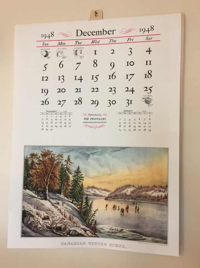 The Traveler's Insurance Currier and Ives calendar hangs in the kitchen. These calendars were so popular people saved them and later framed the pictures. We have a large collection of them that I bought years ago and they are ... somewhere. I laugh -- as Christmases go for me as a kid, the Christmas 1948 at the most disastrous Christmas of my life, although in 1949 when at the age of 6 I got really unhappy, Santa (my mother) came and took most of my presents back. OMG. What was the woman thinking of.