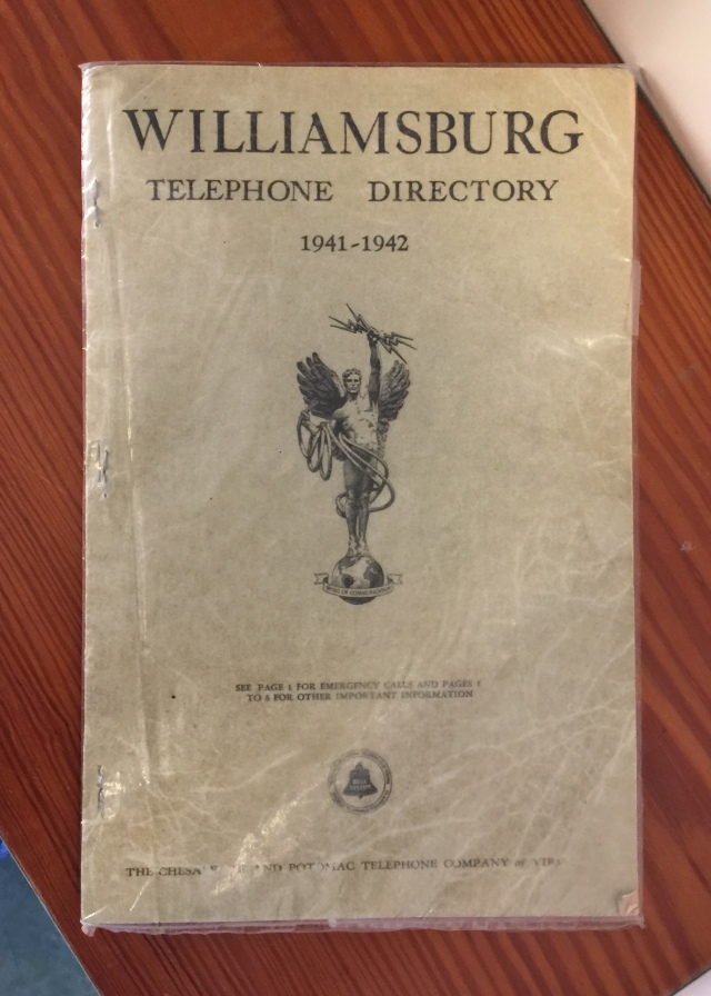 The phone book in the kitchen at Bassett Hall.