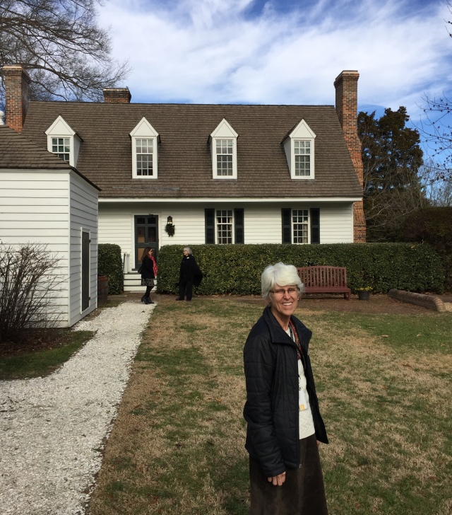 Carol Anne stands at the rear of the house which is only steps from the Capitol building and the Williamsburg Inn. Carol Anne's father graduated from Harvard with John D. Rockefeller's son, David, who, at age 101, recently returned to visit Bassett Hall.